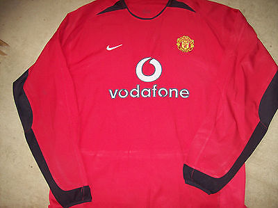 2002 2004 Manchester United Home L/s Football Shirt Adults XL