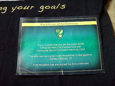 Norwich City Kyle Naughton Pre Match worn Signed Football Shirt Top + Club COA