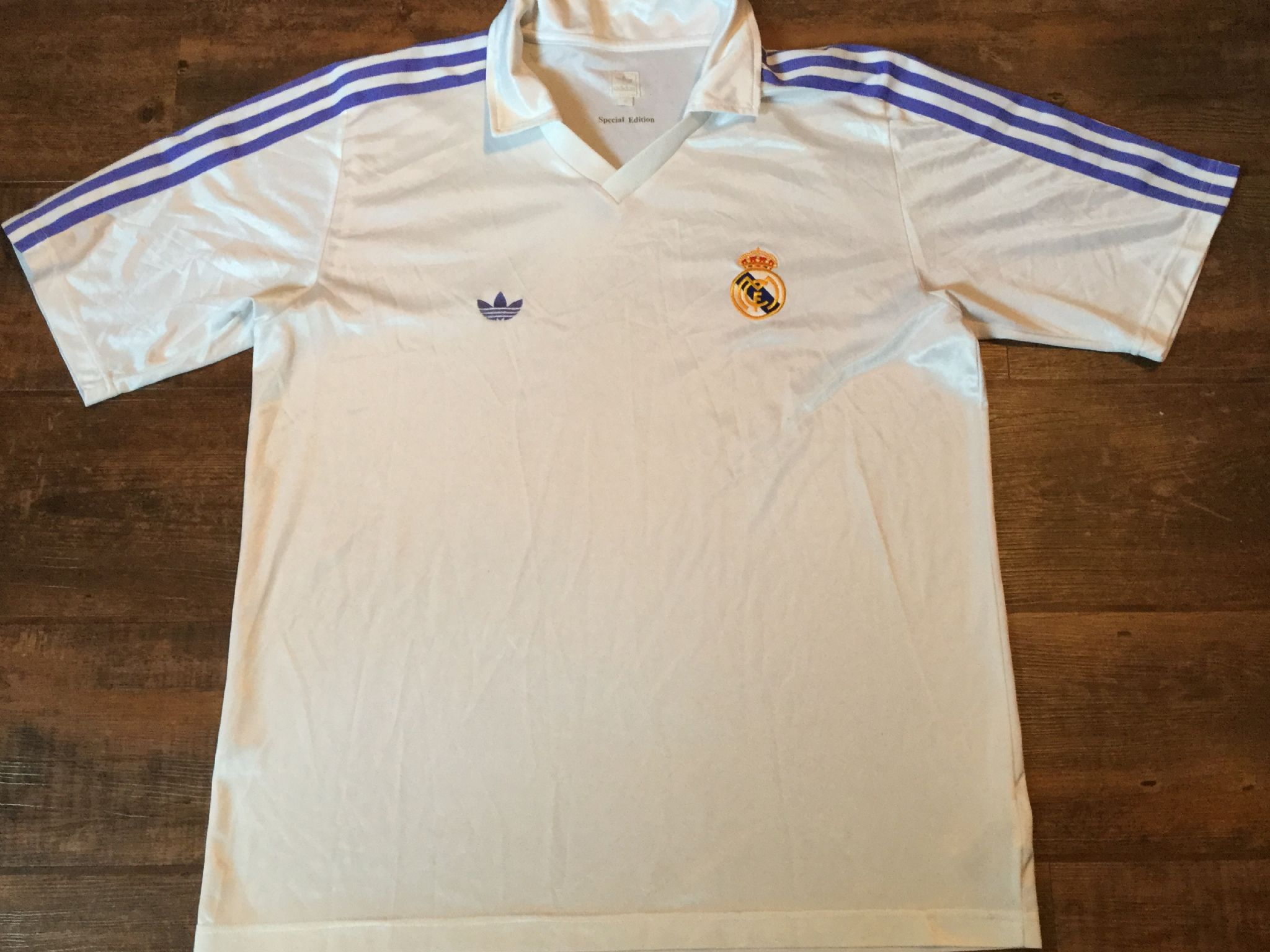 dac74698e 1980s Real Madrid Adidas Originals Football Shirt Adults XL