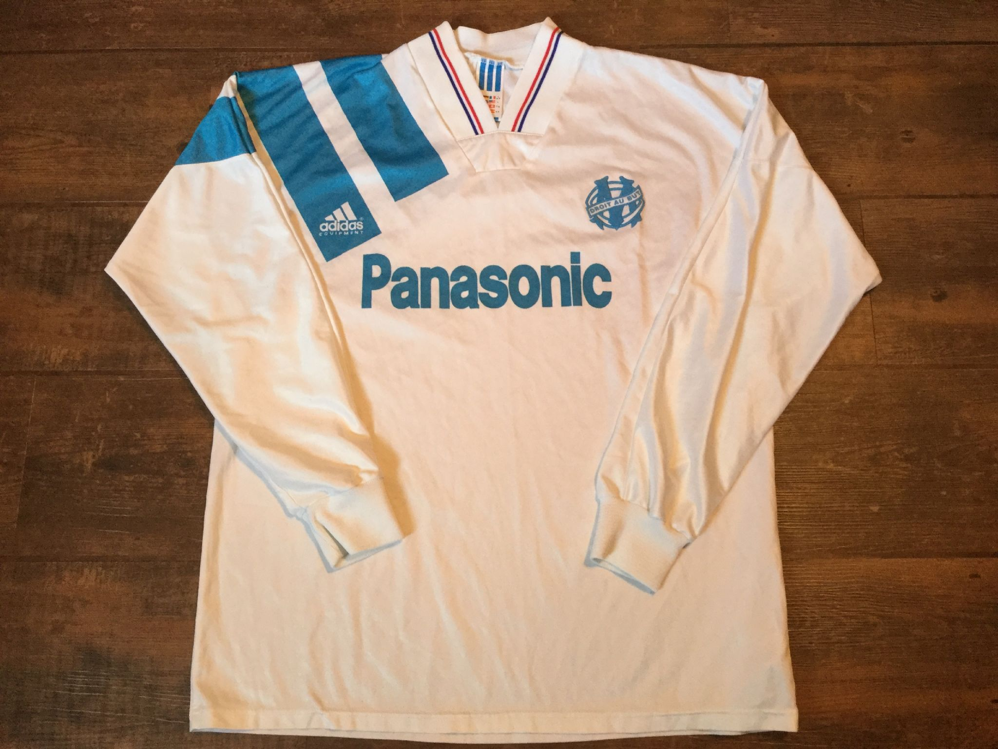 31e256149eb 1991 1992 Olympique Marseille L s Home Football Shirt Adults Large