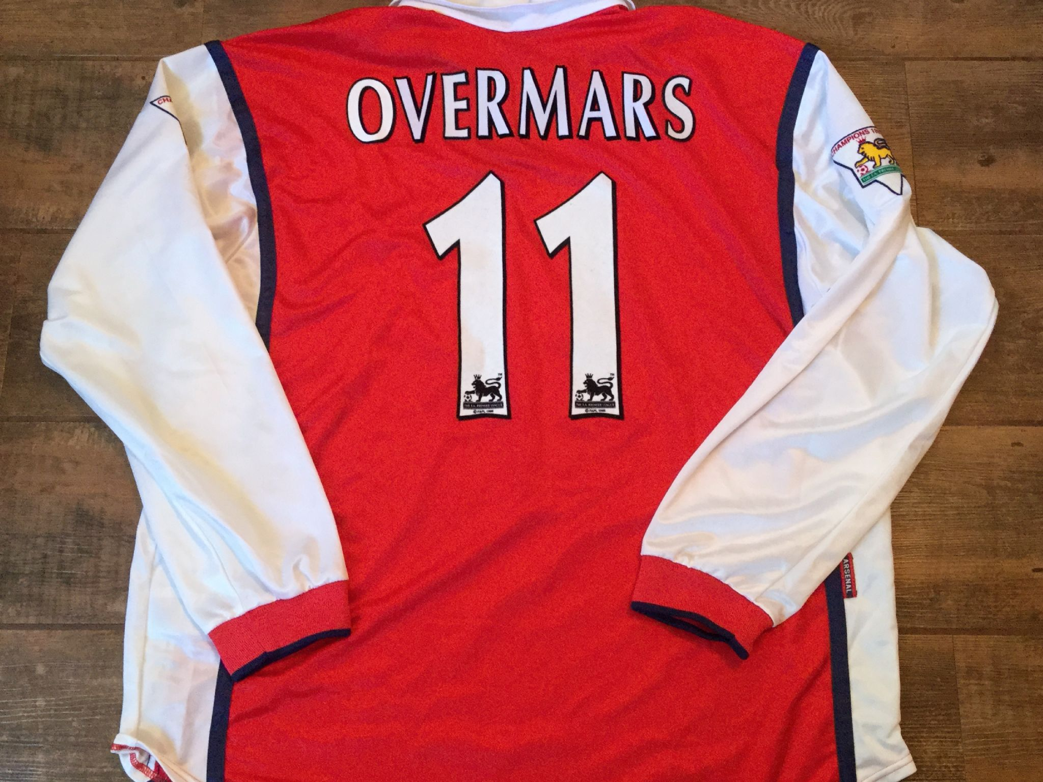 4f43334de 1998 1999 Arsenal Overmars Player Issue Home L s Football Shirt Adults XXL