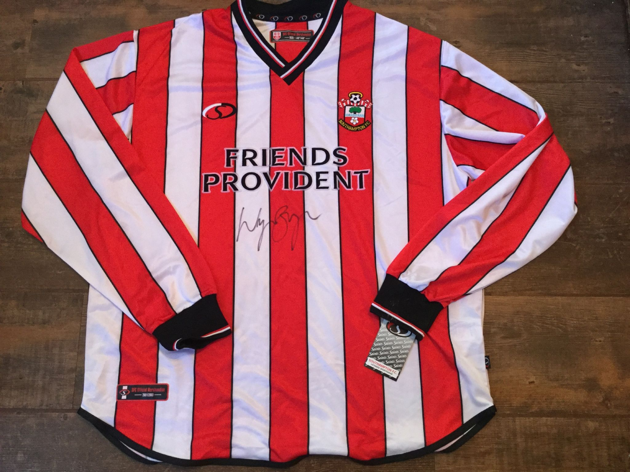 522f450dc 2001 2003 Southampton Wayne Bridge Signed Club COA BNWT L/s Football Shirt