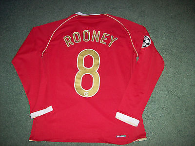d0f13c03b8a 2006 2007 Manchester United Rooney Medium M Long Sleeved L s CL Football  Shirt Top