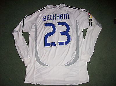the best attitude 452b1 6ac66 2006 2007 Real Madrid David Beckham L/s Football Shirt Camiseta Adults XL  Spain