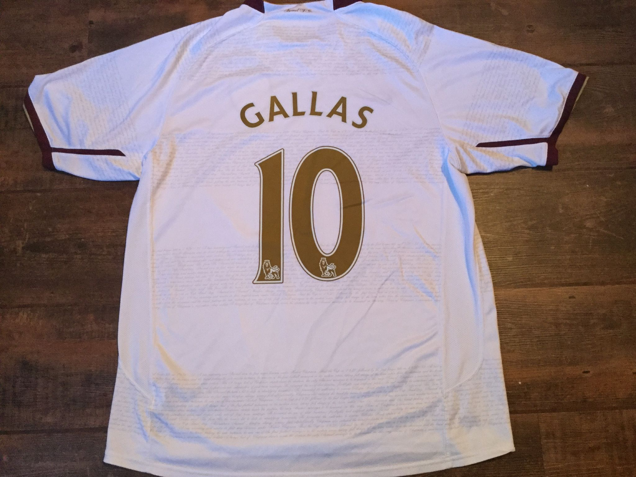 eb6c99ec7 2007 2008 Arsenal Gallas Away Football Shirt Adults Large
